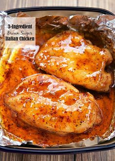 3-Ingredient Brown Sugar Italian Chicken - brown sugar, Italian dressing mix and chicken. Ready in under 30 minutes! Everyone loved this dish! I loved that there was no prep work! Such an easy weeknight meal that the whole family enjoyed!
