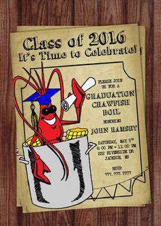 Crawfish Boil Invitation Graduation Party by PerfectedbyGrace Indian Wedding Invitation Wording, Birthday Party Invitation Wording, Graduation Invitations, Party Invitations, Graduation Ideas, Double Birthday Parties, Grad Parties, 15th Birthday, Crawfish Party