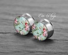 Rose flower silver steel stain ear gauge, silver tunnel plugs,Stainless Steel Screw Ear Gauges, 2g, 0g, 00g,/16, 1/2, 5/8, 3/4,