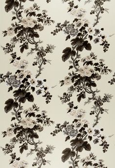"""""""PYNE HOLLYHOCK, Charcoal"""" is a gorgeous satin-like chintz.WHAT MAKES THIS SPECIALThis chintz pattern was famously used by designer Albert Hadley for his client Nancy Pyne. It's one of Schumacher's most sought-after designs. Motifs Textiles, Textile Patterns, Print Patterns, Motif Floral, Floral Prints, Greige, Hawaiian Tattoo, Hollyhock, Fabric Wallpaper"""