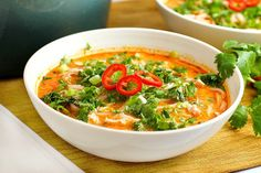 Skip the takeout! This delicious Thai Chicken Noodle Soup is easy to make at home with ingredients you can find in your local supermarket. If you love Thai food, you need to try this recipe! Thai Recipes, Asian Recipes, Soup Recipes, Cooking Recipes, Healthy Recipes, Thai Cooking, Chicken Recipes, Cheap Clean Eating, Clean Eating Snacks