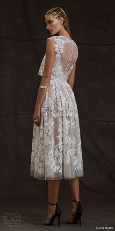 "Short and Tea Length Wedding Dresses : Limor Rosen 2016 Wedding Dresses — ""Treasure"" Bridal Collection Wedding Gowns With Sleeves, 2016 Wedding Dresses, Tea Length Wedding Dress, Lace Dress With Sleeves, Tea Length Dresses, Bridal Dresses, Cap Sleeves, Dress Lace, Lace Gowns"