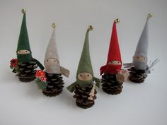 Pinecone Elf Ornament Set of 5 -- Woodland Holiday Decor - Forest Gnomes - Tabletop Mantel Tree - Stocking Stuffer