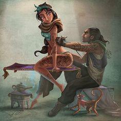 """New work by @themaddhattr , number 4 ,Princess Jasmine , of Aladdin , #tattoo #illustration #art #disney #aladdin #jasmin #joelsantana #themadhatter…"""