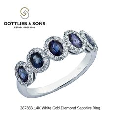 Elegance is featured in this 14K White Gold Diamond Sapphire ring.  This #sapphire ring features five stunning oval sapphires encased in a glittering halo of shared prong set round diamonds. Visit your local #GottliebandSons retailer and ask for style number 28778B. http://www.gottlieb-sons.com/product/detail/28788B