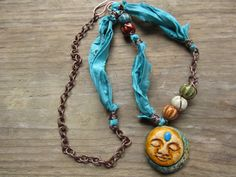 Mixed Media Rustic Boho Gypsy Polymer Clay Sun & Moon Necklace with Sari Silk Ribbon, Chain and Ceramic Beads Free Spirit Jewelry by Spontaneous Soul on etsy