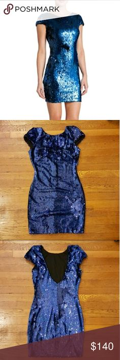 Dress the Population sequin dress Dazzling seqin dress with cap sleeves, open back and  back zipper closure. Can fit sizes 4-6.  Length 33 inches bust 17 inches Dress the Population Dresses