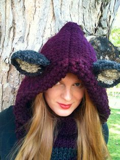This Fox Hoodie screams Sexy vixen! This deep eggplant purple colored hooded cowl brings a glow to your skin. This one is a head turner for sure.