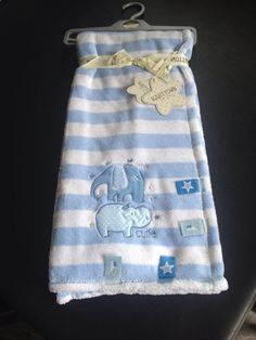 Blue White  Striped  Baby Fleece Blanket Embroidered Elephant & Hippo 76x100cm