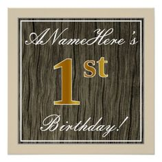 Elegant Faux Wood Faux Gold 1st Birthday  Name Poster - birthday gifts party celebration custom gift ideas diy