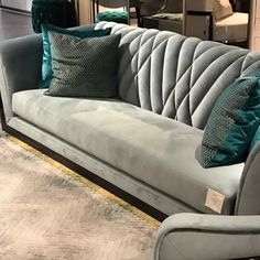 Custom Tufted Green Velvet Sofa with Brass Base Adesso Eclectic Imports - Salvabrani