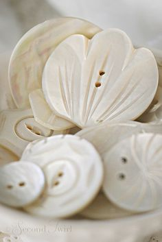 Fancy Vintage Carved MOP Buttons