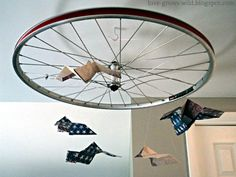 Recycled Bicycle Tire Airplane Mobile