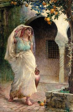 The Water Carrier by Isaac Snowman Romantic Paintings, Classic Paintings, Victorian Paintings, Arabic Art, Historical Art, Painting Wallpaper, Art Sketchbook, Figure Painting, Islamic Art