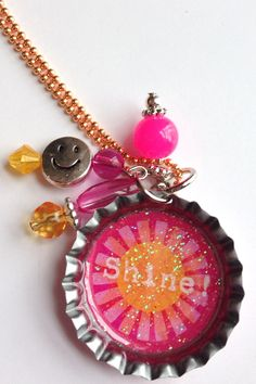 Shine Bottle Cap Necklace with Silver Charms by BandsBeadsandBling, $7.50