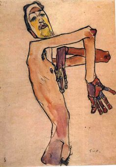 Modern Art - Mime van Osen with crossed arms - by Egon Shiele, 1910