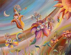 "Alejandro Costas - ""Cobijados en Ella, la Naturaleza"" Karla Gerard, Good Night Friends, All Nature, Unique Flowers, Naive Art, Tree Art, Folk Art, Fantasy Art, Original Art"