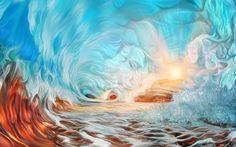 The evening wave by exobiology Magic Hour, Fantasy Landscape, 3 D, Paradise, Scenery, Waves, Clouds, Deviantart, Portrait