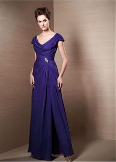 Elegant Chiffon Jewel Neckline Floor-length A-line Mother Of The Bride Dress