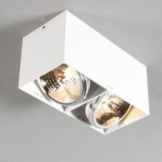Spot Box 2 wit - Eetkamerverlichting - Verlichting per ruimte - Lampenlicht.be Spot Design, Wall Design, Spot Plafond, Led Spots, Furniture Dolly, Led Lampe, Glass Pendants, Lighting Design, Box