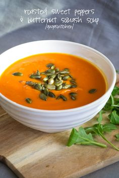 Roasted sweet peppers & butternut squash soup #vegan