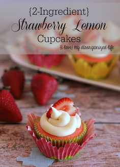 With just two ingredients, these strawberry lemon cupcakes are quick and easy to make. The homemade cream cheese frosting adds the perfect touch of sweet.