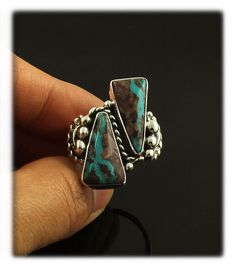 Two Stone Bisbee Turquoise Ring