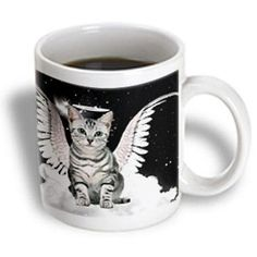 3dRose Gray Tabby Cat Angel Sitting on a Cloud with a cute Halo and Angel Wings, Ceramic Mug, 15-ounce