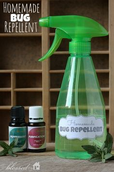 Homemade Bug Repellent  Plastic spray bottle 8 oz distilled water Pinch of epsom salts 8 drops peppermint essential oil 8 drops purification essential oil 8 drops citronella essential oil {optional, but I have found it very effective!}