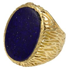 Striking Lapis Gold Large Men's Ring | From a unique collection of vintage more rings at https://www.1stdibs.com/jewelry/rings/more-rings/
