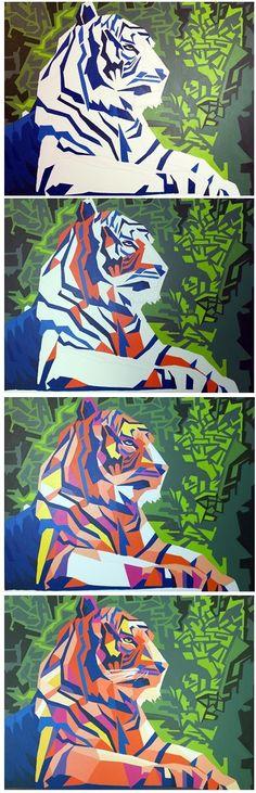 """Modernes Ölgemälde """"Tiger"""" mit bunten Farben auf Leinwand. Das Bild ist ein handgemaltes Kunstwerk und ein Unikat.  Es handle sich um 100% handgemaltes Original.  Lesen über den Prozess an http://www.artblogmunich.com/abstraktes-modernes-gemaelde-tiger/"""