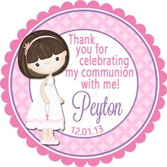 First Communion Brunette Girl Personalized Stickers - Party Favor Labels, Christening, Holy Communion, Baptism - Size Choice