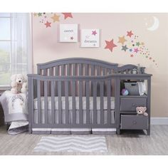 Sorelle Classic style Berkley Convertible Crib and Changer with fluting and gently curved front and back panels. The crib and changer convert into Toddler Bed, Daybed and finally a Full-size bed. The toddler and adult rails are not included. Toddler Furniture, Baby Furniture, Grey Nursery Furniture, Furniture Vintage, Furniture Stores, Cheap Furniture, Furniture Decor, Crib With Changing Table, Grey Crib