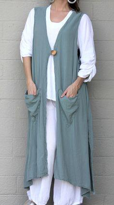 OH MY GAUZE  Cotton Lagenlook  ASPEN  Vest Long Duster Top  L/XL/1X/2X/3X  SAGE #OHMYGAUZE #DusterVest #Versatile