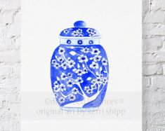 Mum has collected vintage blue and white china for as long as I can remember. This ginger jar print was inspired by her collection of blue willow china, in every shape and size. Its a fine art print of my original watercolor painting of a chinois ginger jar in ming blue, featuring a traditional cherry blossom design.  Image is sized to suit an 11x14 mat and/or frame, on A3 paper (11.7 x 16.5). I use 300gsm, cold-pressed aquarelle paper and archival pigment ink for all prints, to retain as…