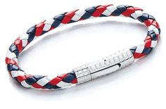 Red, white and blue men's leather bracelet with rocker clasp.