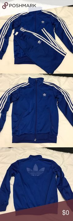 Kids Adidas matching sweat fit Like new condition bottoms are size small jacket is a medium. 100% polyester Adidas Matching Sets