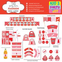 Fashion Lady Kids Party Printables Paper Decoration Birthday Package