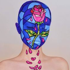 Beauty & The Beast Stained Glass Rose Body Art Beauty And Beast Rose, Beauty And The Beast Theme, Fx Makeup, Makeup Geek, Makeup Hacks, Using Concealer, Stained Glass Rose, Beauty Bakerie, Unicorn Halloween
