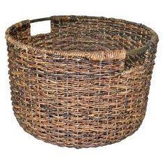 Wicker Large Round Basket Dark Brown - Large baskets Baskets for storage Laundry Baskets Decorative Hampers Shelf baskets - Threshold Home Storage Units, Home Storage Solutions, Basket Shelves, Storage Baskets, Toy Storage, Storage Ideas, Large Baskets, Wicker Baskets, Woven Baskets