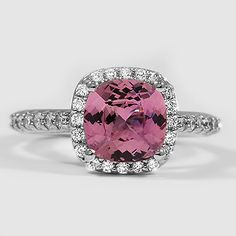 Platinum Sapphire Fancy Halo Diamond Ring // Set with a 7.5mm Premium Pink Cushion Sri Lankan Sapphire #BrilliantEarth
