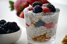 A chia seed parfait is the best way to start your day. Layer it with your favorite fruit and granola!