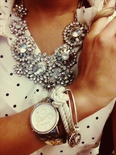 Class #classy #polkadots #white #black statement necklace #diamonds #watch #brown #style #outfit
