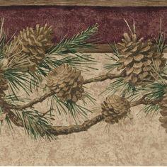 Rustic Golden Pinecones on Branch - 45 feet ONLY $20 - Wallpaper Border 450 #WarnerWallcovering #Pinecones #Wallpaper