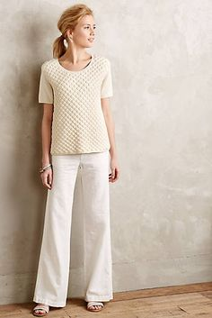 Love the wide-legged trousers.  Could use some help styling something like this w/o feeling frumpy.