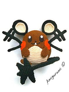 Amigurumi Dedenne has 5 inches in height. You'll need 4 yarn with different color. Brown(for main color), Black(for the whiskers, tail, and outer eras), Cream(for the belly and inner ears), and Orange(for the cheeks). And also embroidery thread and felt to make his face.