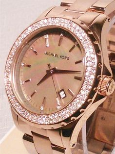 NIB Michael Kors Womens Madison Swarovski Crystal Rose Gold Watch MOP MK5453 in Watches Wristwatches gifts.