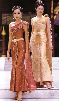 traditional Thai wedding dress. Potential outfit change for cake cutting.