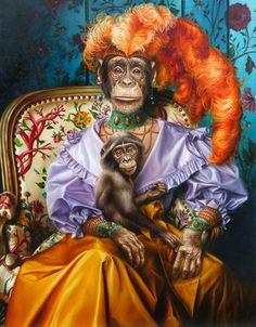 Feng Shui, Art Deco Artwork, Monkey Art, Victorian Art, Pop Surrealism, Animal Heads, Surreal Art, Great Pictures, Pet Portraits