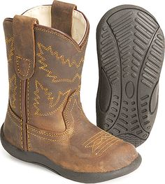 Toddler shoes that look like cowboy boots, but are better for their little feet! We'll need these one day